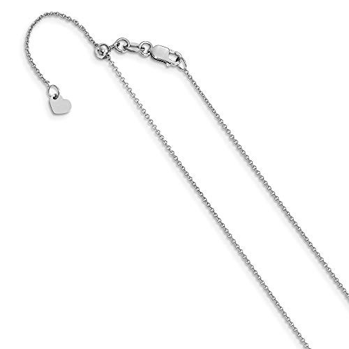 (Leslie's Real 14kt White Gold .7 mm Round Cable Adjustable Chain; 30 inch)