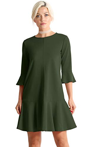 Green Cocktail Dresses for Women Evening.Dresses for Women Party Wedding. Green Cocktail Dress with Sleeves (Size XX-Large (US 10-12), Olive)