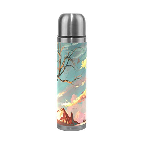 Coffee Thermos Red Sky Mountains Cycling Vacuum Insulated Mens Thermos Flask Stainless Steel Water Bottles + Drink Cup Top + Leather Cover Fits Backpack Lunchbox 17oz / 500ml