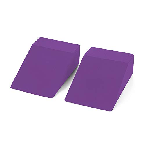 Yoga Foam Wedge Blocks (Pair) Soft Wrist Wedge, Supportive Foot Exercise Accessories | Balance, Strength, Stretch | Pilate, Crossfit, Fitness, Squat, Pushup, Plank | EVA Riser Block (Purple) (Best Push Up Routine)