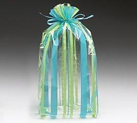 (100) Sweet Stripe Blue and Green 11'' Cellophane Bags by Burton & Burton