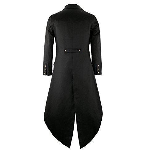 Mens Black Tailcoat Jacket Gothic Steampunk Victorian VTG Halloween Costume Long Coat