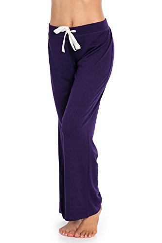 Solid Womens Sleep Pant - Vie De Rêve New York Comfy Stretch Solid Flared Pajama Pants for Women (Purple, L)