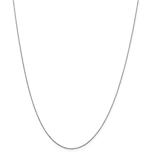 Snake Ring White Gold (10k White Gold .6mm Solid Link Cable Chain Necklace 18 Inch Pendant Charm Round Fine Jewelry For Women Gift Set)