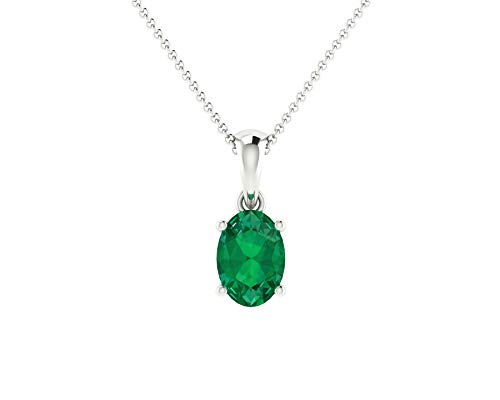 Euforia Jewels 14K Fine Gold Natural Emerald 6X4 mm Oval Pendant With Free 925 Sterling Silver Chain