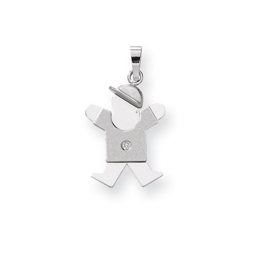 Icecarats Créatrice De Bijoux 14K Blanc Aa D'Or Diamant Pendentif Enfant