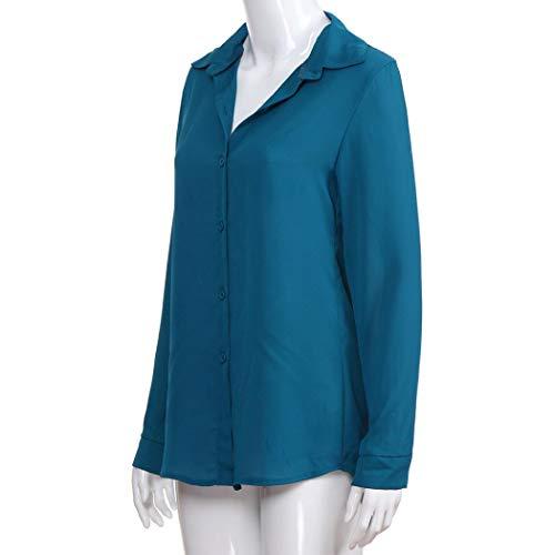 Bouton De Lenfesh Longue Femme T Soie Tops Col Shirt V en Grande Bleu Taille Manche avec Mousseline LaChe Casual Blouse en Tq4Ctqw