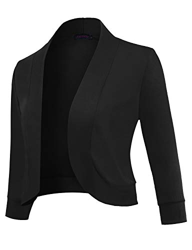 Anmery Womens 3/4 Sleeve Cardigan Slim Fitted Cropped Open Front Women's Bolero Shrug Long Sleeve Blazer Jacket Sweater Women Professional Work Office Casual Black ()