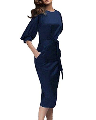 ZANZEA Mujeres Vestido Con Belted Manga 1/2 Mini Dress Bodycon Trabajo Túnica Kaftan Azul Marino