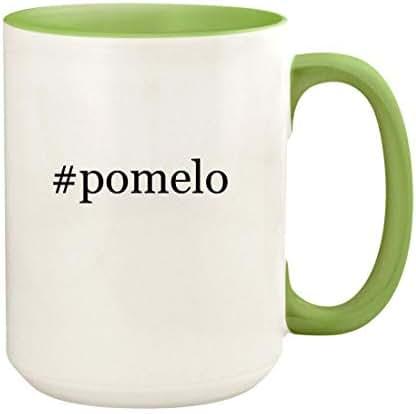 #pomelo - 15oz Hashtag Ceramic Colored Handle and Inside Coffee Mug Cup, Light Green