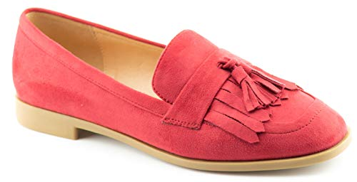 CALICO KIKI Women's Comfort Loafer Flat Shoes - Fringe Tassel Accents Flats Red_su