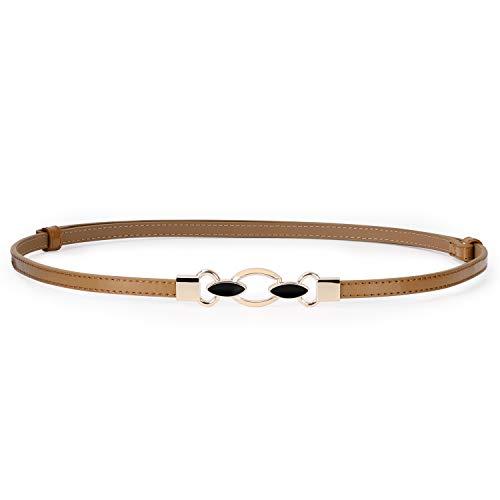 (Fancy Lady Leather Belt for Dress,Women Thin Cinch Belt for Girl blouse)