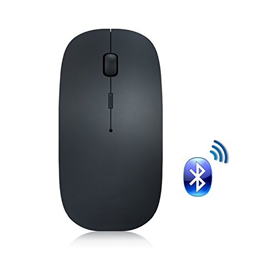 Bluetooth Mouse, Attoe Portable Ultra Thin Noiseless Bluetooth Wireless Rechargeable Optical Mouse with Adjustable DPI for PC Laptop Tablet Notebook(Black) -