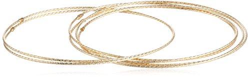 14k Yellow Gold Diamond-Cut 7-Day Bangle Bracelet 6-Piece -