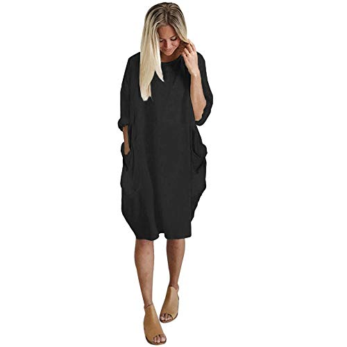 (Plus Size Loose Long Dress Women Pocket Ladies Crew Neck Casual Tops Dress Black)
