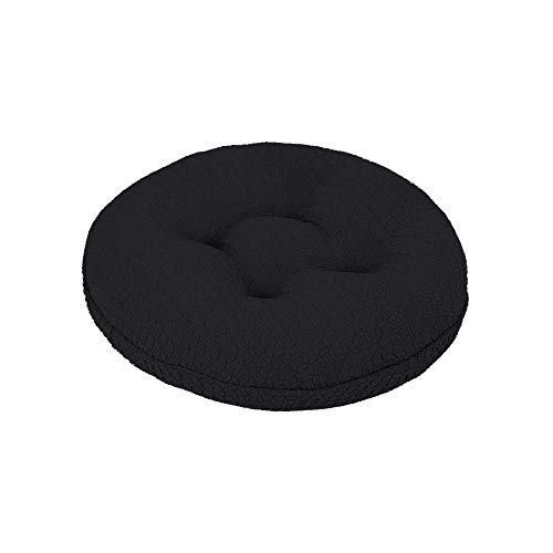 (Lominc Black Thick Round Bar Stool Cushion with Elastic, Water & Oil Repellient,Suitable for 11.5