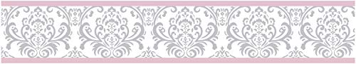 Sweet Jojo Designs Pink, Gray and White Elizabeth Kids and Baby Modern Wall Paper Border (Wallpaper Jungle Border Babies)