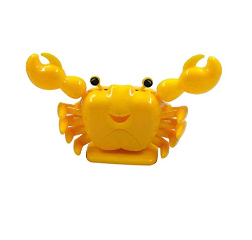 Little Solar Powered Dancing Toy -Cute Crab Swinging Bobblehead Doll for Car Homen Interior Decoration … (Yellow)