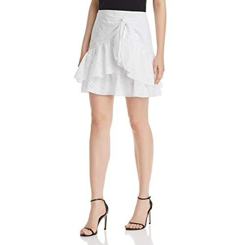 Le Gali Womens Frances Eyelet Ruffled Mini Skirt White S (Eyelet Mini Skirt)