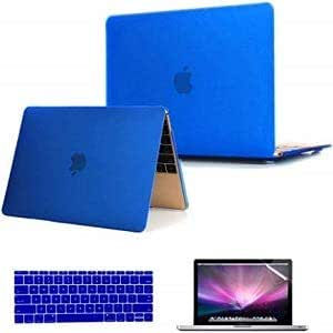 3in1 Rubberized Hard Case Screen Protector Keyboard Cover for Macbook Pro 13 13.3 Blue Color