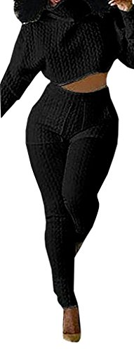 CHUANQI Women's Plus Size Turtleneck Outfits Sets Winter Crop Tops and Long Pants