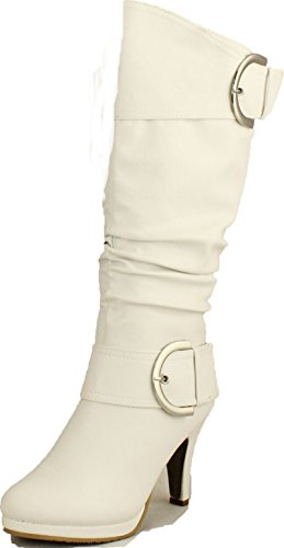 Top Moda Womens Page-22 Knee High Round Toe Buckle Slouched Low Heel Boots,White,6.5 (White Boot Tops)