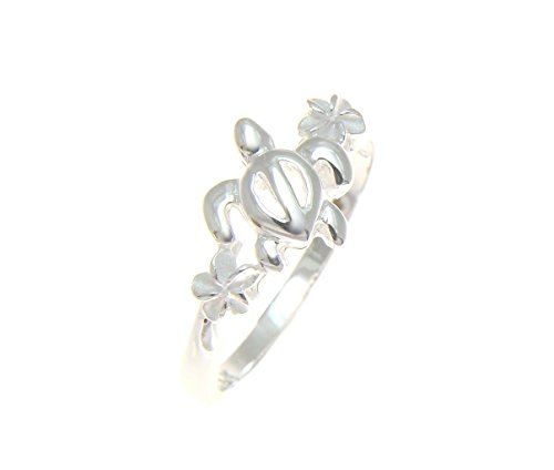 Sterling silver 925 Hawaiian honu turtle plumeria flower ring size ()