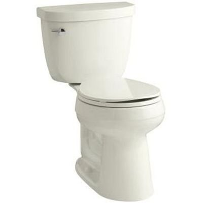 (Kohler K-3888-96 Biscuit Cimarron 1.6 GPF Two-Piece Round Comfort Height Toilet with AquaPiston Technology - Seat Not Included)