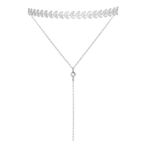 Lariat Tassel Choker Necklace - Silver Choker Necklace Layered Metal Withe Choker Necklace with Pendant Long Tassel Chain Sexy Choker Y Shaped Lariat Chokers Necklace for Womens Teen Girls