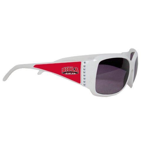 Biola Ladies White Rhinestone Sunglasses 'Official Logo' by CollegeFanGear