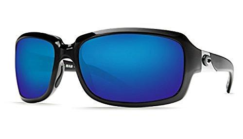 Costa Isabela Sunglasses Shiny Black / Blue Mirror 580P C-Mate 2.00