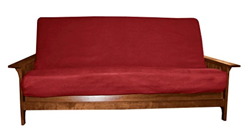 Better Fit Machine Washable Upholstery Grade Futon Cover , Full 8-inch Loft-size, Microfiber Suede Cardinal Red Micro Suede Futon Cover Fabric