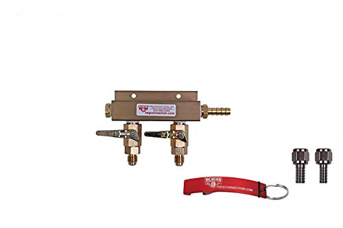 (2 Way CO2 Manifold with Integrated Check Valves and MFL Fittings Bundle by Kegconnection,Copper)