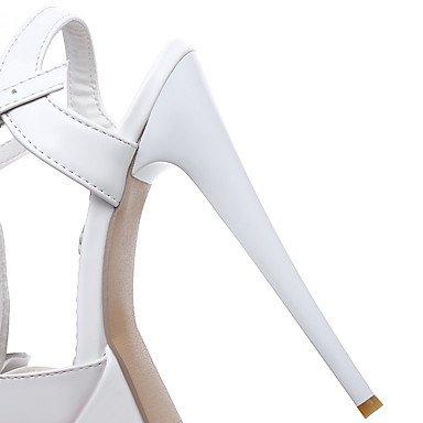 LFNLYX Sandalias mujer Primavera Verano Otoño comodidad del Tobillo Charol boda vestido de noche y Stiletto talón Rhinestone BuckleBlack White