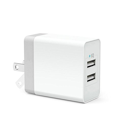 i Port Dual USB Travel Wall Charger Adapter Foldable Plug for iPhone 7 6 iPad Mini Macbook Pro Samsung Galaxy Note 5 S6 S7 Edge Tablet HTC Nexus LG Speaker Headset Power Bank White ()