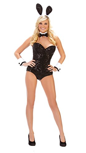 Bunny Set Costumes (Starline Women's Party Bunny Costume Set, Black, Medium)