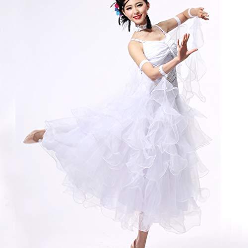 Maniche braccialetti strass dancewear Prestazione Donna Crepe Sala Senza paillette Per Cristalli moderno Abiti Completi Wqwlf Balli m Da Valzer Xxl Ballo White gzwxqn4O76