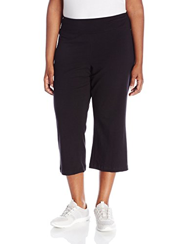 Fold Pant Crop Over - Jockey Women's Slim Capri Flare Athletic Pant, Deep Black, Large