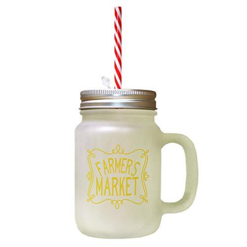 Yellow Farmer'S Market Frosted Glass Mason Jar With Straw