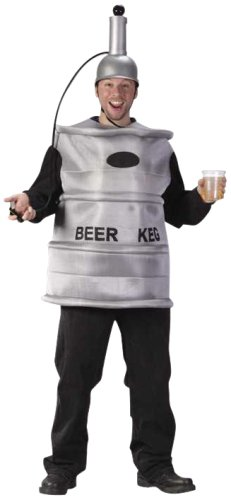 Beer Keg Halloween Costumes (FunWorld Men's  Beer Keg Costume, Silver, One Size)