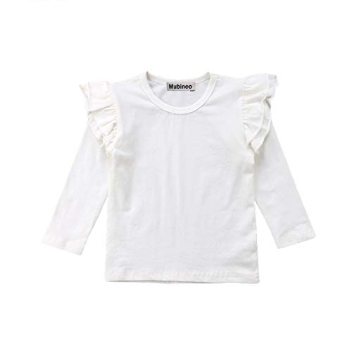 Mubineo Toddler Baby Girl Basic Plain Ruffle Sleeve Cotton T Shirts Tops Tee Clothes (White(Long Sleeve), 1-2T)
