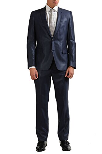 Verace Collection 100% Wool Navy Striped Two Button for sale  Delivered anywhere in USA