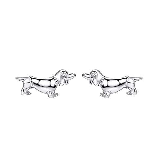 Creative Barking Dog Stud Earrings Dachshund Design 925 Sterling Silver Fine Jewelry