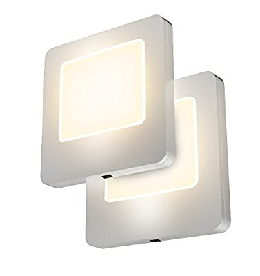 LED Concepts Pack of 2 Plug-in LED Night Lights - Ultra Slim, Cool-Touch Design - Great for Bedroom, Bathroom, Hallway, Stairways, or Any Dark Room