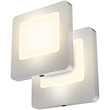 Led Concepts Pack Of 2 Plug In Led Night Lights Ultra Slim Cool Touch Design Great For Bedroom Bathroom Hallway Stairways Or Any Dark Room Warm