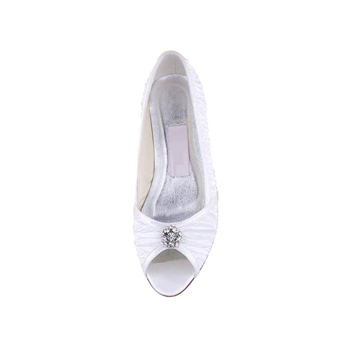 Willsego Gymz676 Womens Handmade White Satin Evening Party Prom Sposa Scarpe Da Sandali Pompe Flatfs Uk 4 5 colore - Dimensione -