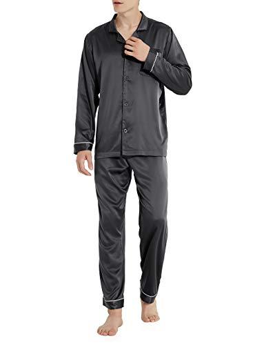 David Archy Men's Satin Silky Sleepwear Pajamas Set Button-Down Long Loungewear (M, Dark Gray) ()
