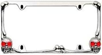 Custom Accessories 92714 Chrome Skull and Bones Metal License Plate Frame