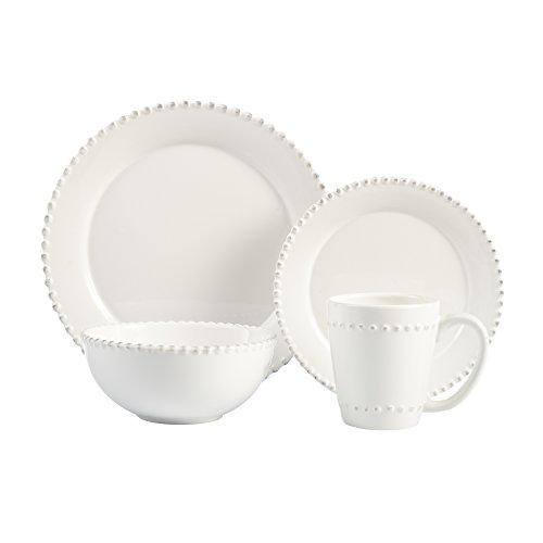 American Atelier 16 Piece Bianca Bead Round Dinnerware Set,