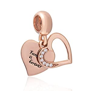 Rose Glod Family is Forever Heart Dangle Charm 925 Sterling Silver European-Style Bead Charm
